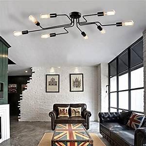 Deckenlampe Für Wohnzimmer : vintage deckenleuchte frideko diy industrie kreative deckenlampe mit 8 flammige f r wohnzimmer ~ Frokenaadalensverden.com Haus und Dekorationen
