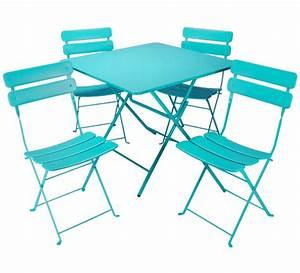 Salon De Jardin Pliant : salon de jardin pliant bleu turquoise mat 4 places 195 ~ Dailycaller-alerts.com Idées de Décoration