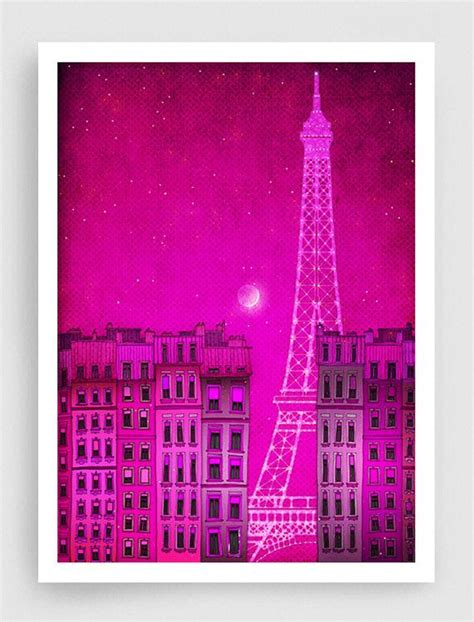the lights of the eiffel tower pink illustration illustration print poster prints