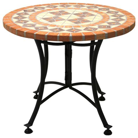 mosaic outdoor dining table terra cotta mosaic accent table with metal base outdoor