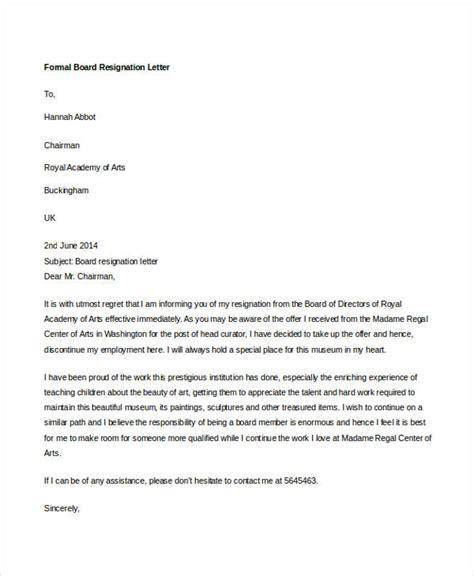 board resignation letter 14 formal resignation letters free sle exle