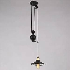 Vintage ceiling lamp loft pulley reflector hanging light