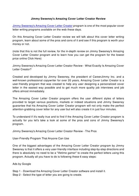20101 cover letter generator resume exles templates how to create jimmy sweeney