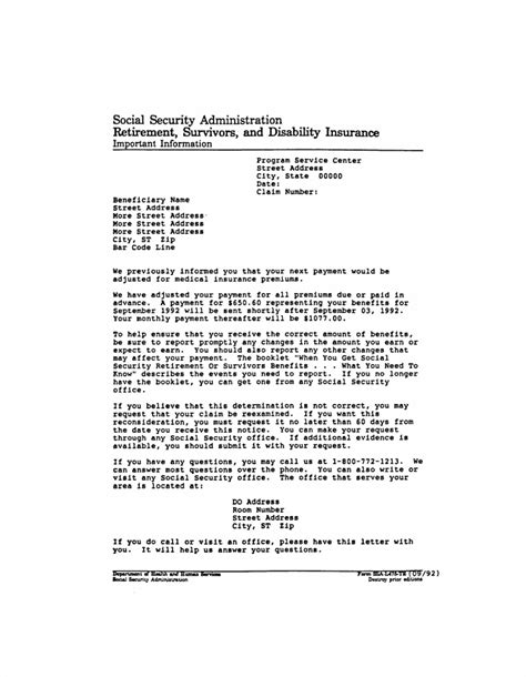 social security rep payee form ssa 11 ssa poms nl 00722 039 form map letter 06 06 1994