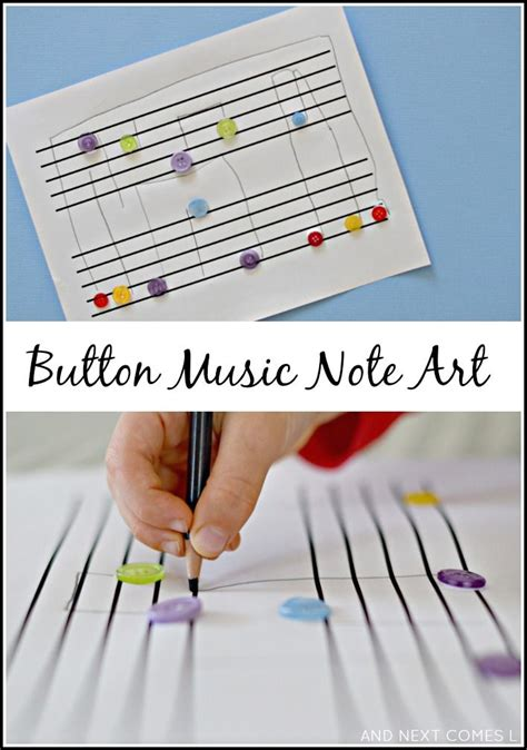 Button Music Note Art {fine Motor Fridays}  Music Notes