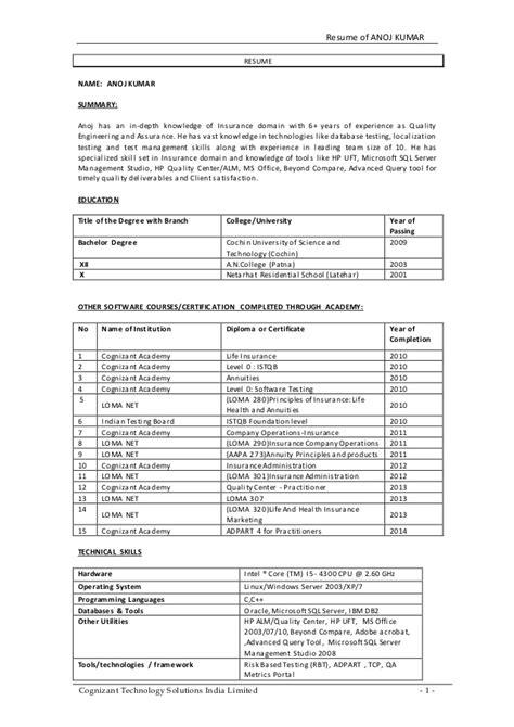 Upload Resume In Cognizant Bangalore by Anoj Resume