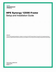 Hpe Synergy 12000 Frame Setup And Installation Guide