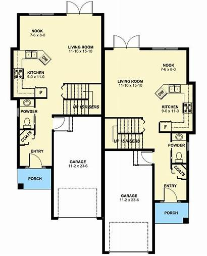Duplex Narrow Plan Lot Plans Side Floor