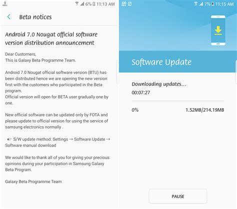 android update samsung galaxy s7 and s7 edge nougat update rolling out