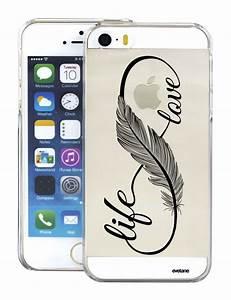 Coque Iphone 5 : coque transparente love life pour apple iphone 5 5s coquediscount ~ Teatrodelosmanantiales.com Idées de Décoration