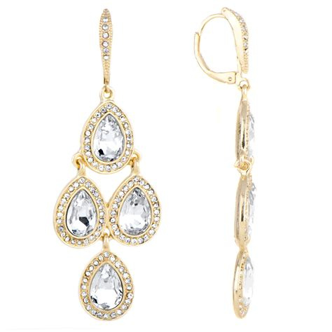 akara s goldtone rhinestone chandelier earrings