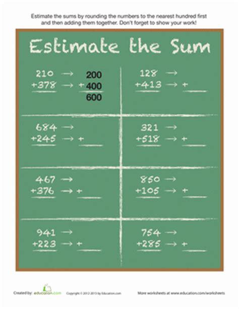 estimate  sum worksheet educationcom