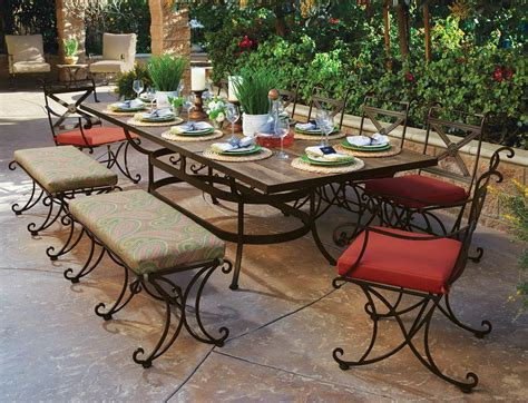 Patio Dining Sets With Bench Seating by Beautiful Crafted Wrought Iron Patio Dining Set For