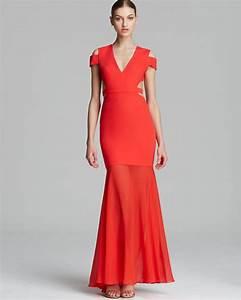 bcbgmaxazria bcbg max azria gown ava cutout in red bright With bcbg max azria robe