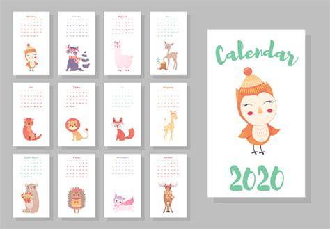 calendar  cute monthly calendar  cute animals hand