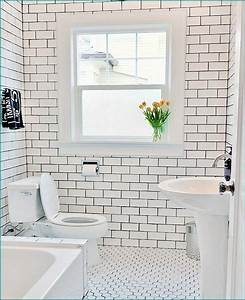 floor and wall contrasting patterns white subway tile With white bathroom tiles with black grout