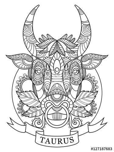 Taurus zodiac sign coloring page for adults | Fotolia