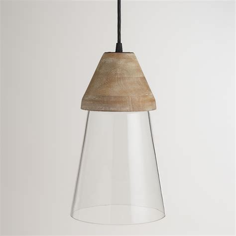 wood top glass hanging pendant l world market