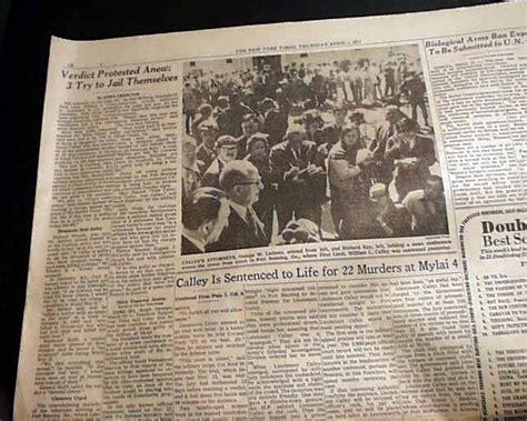 My Lai Massacre William Laws Calley Life Sentence Vietnam