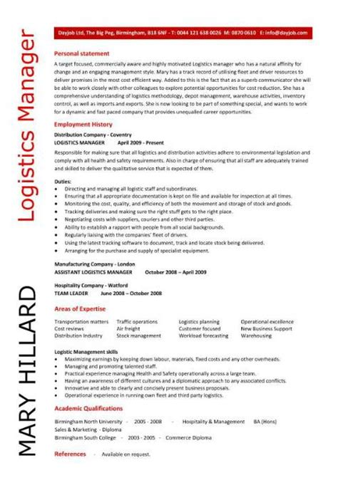 Transportation Resume by Logistics Manager Cv Template Exle Description