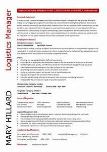 Logistics manager cv template example job description for Logistics resume