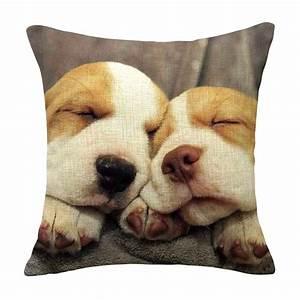 Housse De Coussin 45x45 : housse de coussin sleeping dogs coton 45x45 animaux ~ Teatrodelosmanantiales.com Idées de Décoration