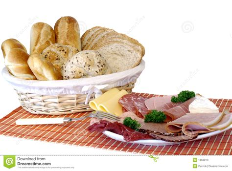 Breakfast, Fresh Baked Bread, Cheese And Meat Stock Photo   Image: 1863014