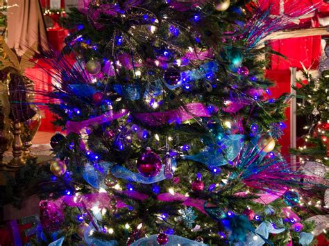 christmas tree decorated  deep purple  peacock blue