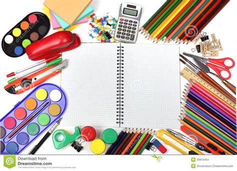 fournitures bureau fournitures de bureau d 39 école et images stock image