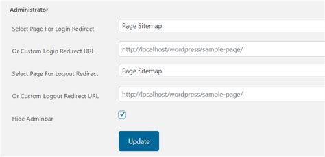 user role based login logout redirection plugin role