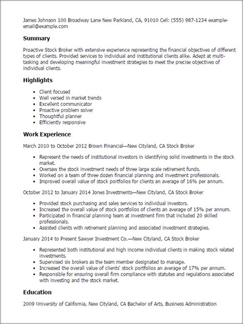 Stocker Resume Summary by Professional Stock Broker Templates To Showcase Your Talent Myperfectresume