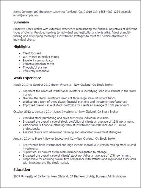 stock broker resume objective professional stock broker templates to showcase your talent myperfectresume