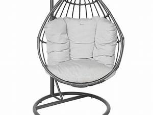 Fauteuil Suspendu Sur Pied : fauteuil suspendu loveuse hesp ride grise jardideco ~ Melissatoandfro.com Idées de Décoration