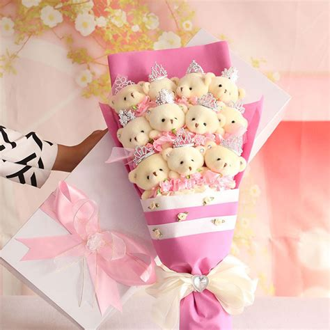 cute cartoon blue artificial rose flowers bouquets