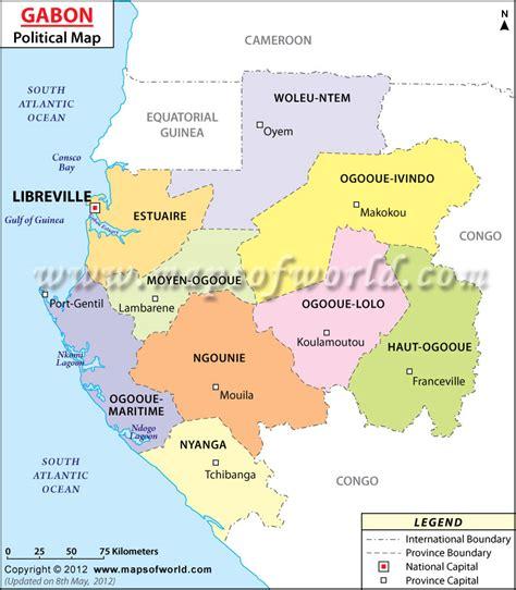 Political Map of Gabon   Gabon Provinces Map