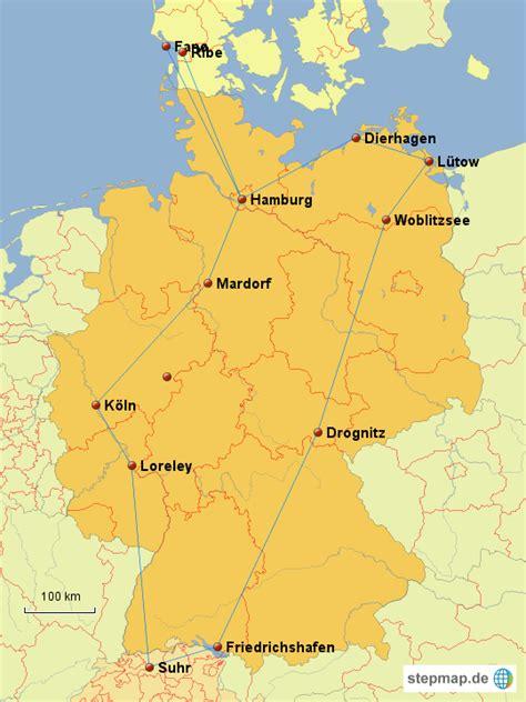 Diese tafel gilt den aus dänemark über die rb 66 ankommenden zügen. StepMap - Sommer 2012, Deutschland - Dänemark - Landkarte für Deutschland
