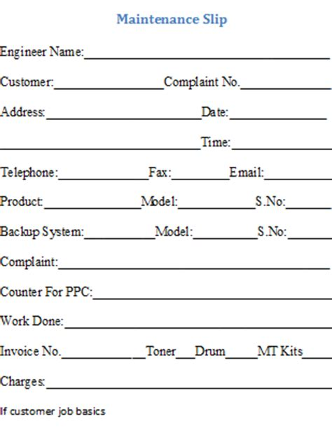 maintenance invoice template  format