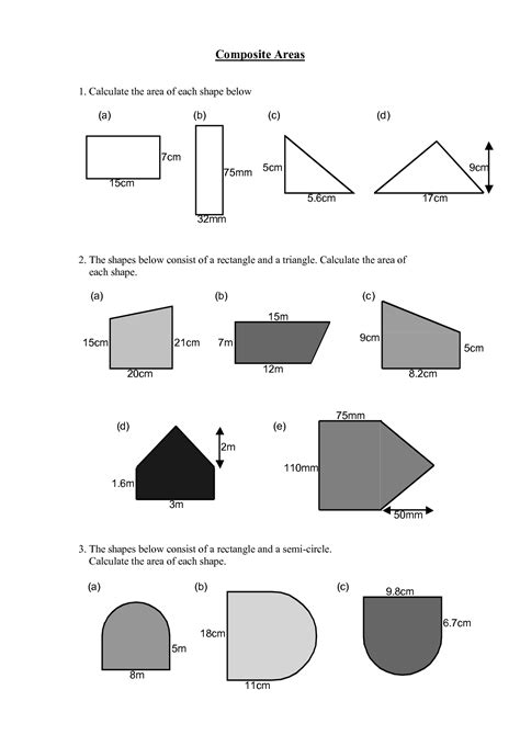 Area Composite Figures Worksheet Worksheets For All  Download And Share Worksheets  Free On