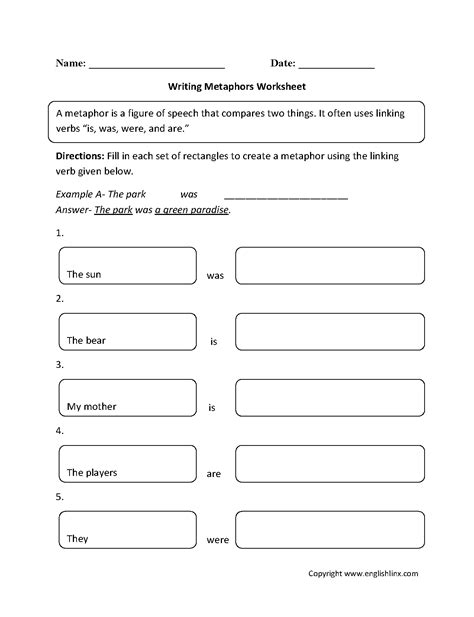 13 Best Images Of Metaphors And Similes Worksheets 5th Grade  Similes And Metaphors Worksheets
