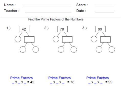 prime factor trees worksheet free worksheets library