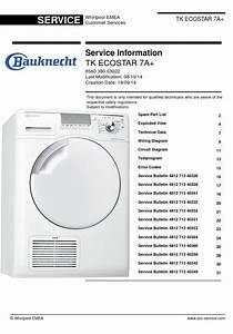 Bauknecht Tk Ecostar 7a  Dryer Original Service Manual As