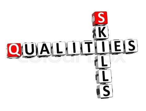 skills and qualities for a 3d crossword qualities skills on white background stock photo colourbox
