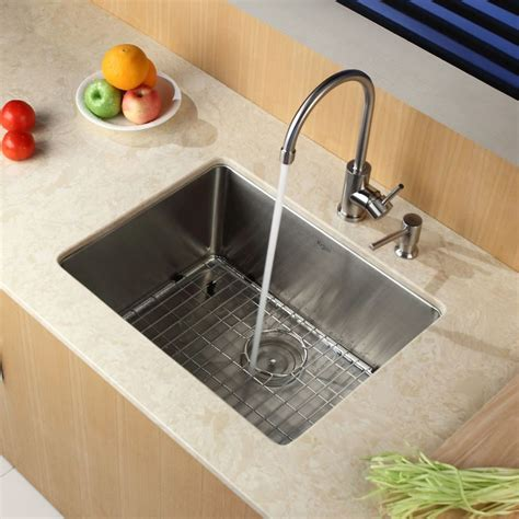 stainless steel single basin kitchen sink faucet khu101 23 in stainless steel by kraus 9416