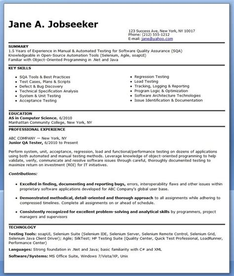 qa software tester resume sample entry level creative