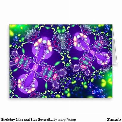 Butterfly Fractal Birthday Fractals Lilac Card Zazzle