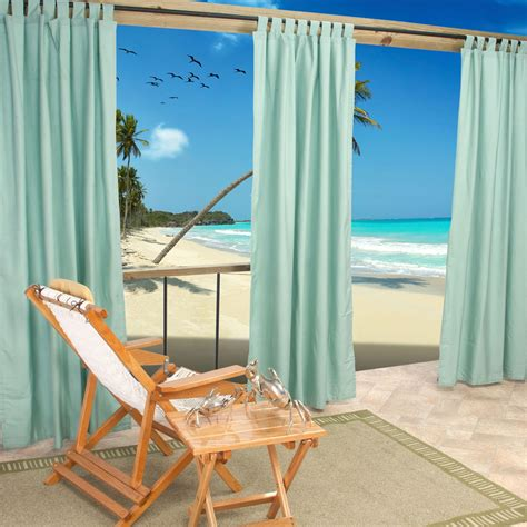 Sunbrella Drapes - mist tabbed sunbrella outdoor curtains dfohome