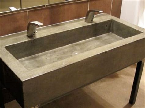 Modern Gray Concrete Trough Sink For Restaurant Bathroom