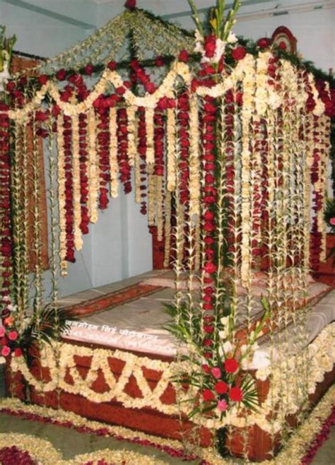 beautiful bridal room decoration masehri with flowers in