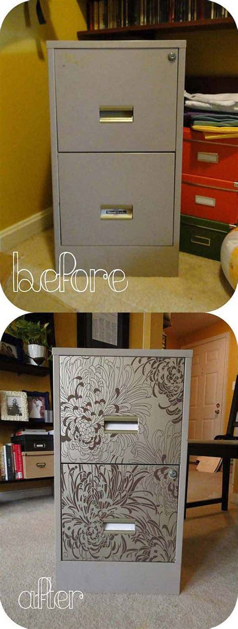 diy file cabinet makeover 27 cool diy furniture makeovers with wallpaper amazing