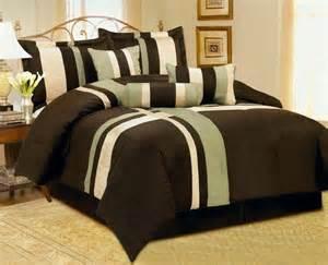 7pc brown beige green comforter set king size new ebay
